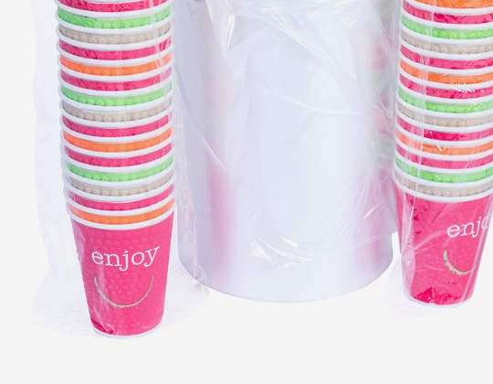 coloured cups in polythene tubing wrap